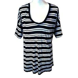 Michael Stars Black & White Striped V Neck Shirt